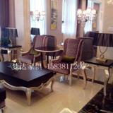 供应郑州售楼部沙发茶几组合 欧式布酒店会所洽谈沙发双人实木沙发