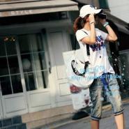 韩版新款短袖女装T恤印花中长T恤图片