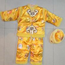 黄色绸段金色印花儿童唐装套装新年礼服中式服装批发
