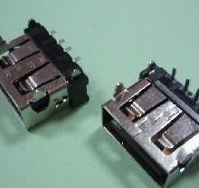 供应短体A型USB母座90度DIP插脚无卤LCP黑色塑料磷铜外壳批发