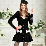黑色荷叶边裙摆镶蝴蝶结甜美裙式开图片