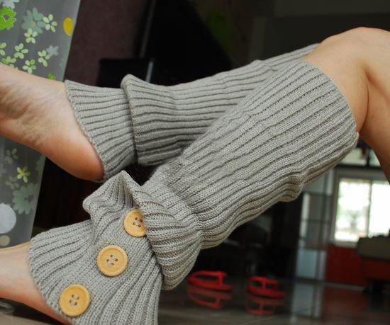 三排扣多色日本流行针织袜套批发 毛线袜套 诚招淘宝代理