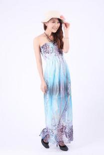 波西米亚雪纺印花水珠链抹胸沙滩裙图片