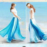 拼色雪纺半身长裙