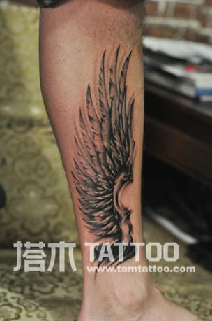 供应小腿翅膀纹身