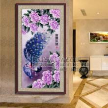 供应富贵花开孔雀DIY钻石画树脂钻石画十字绣室内装饰壁画厂家图片