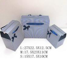 厂家批发蓝白条纹折叠礼盒包装手提袋食品包装盒三件套批发