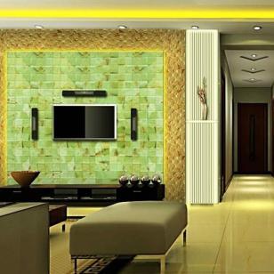 纯天然玉石透光电视背景墙图片
