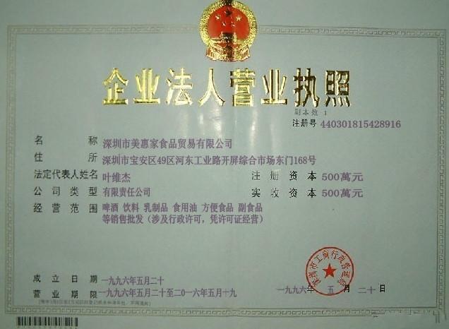 深圳市美惠家食品贸易有限公司