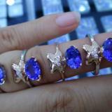 供应定制天然坦桑石戒指可爱小熊坦桑石戒指