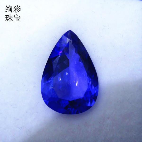 供应7.44克拉水滴形坦桑蓝宝石吊坠