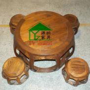 明清仿古鼓形茶桌榆木鼓桌子图片