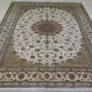 波斯简约素净手工编织打结真丝地毯图片