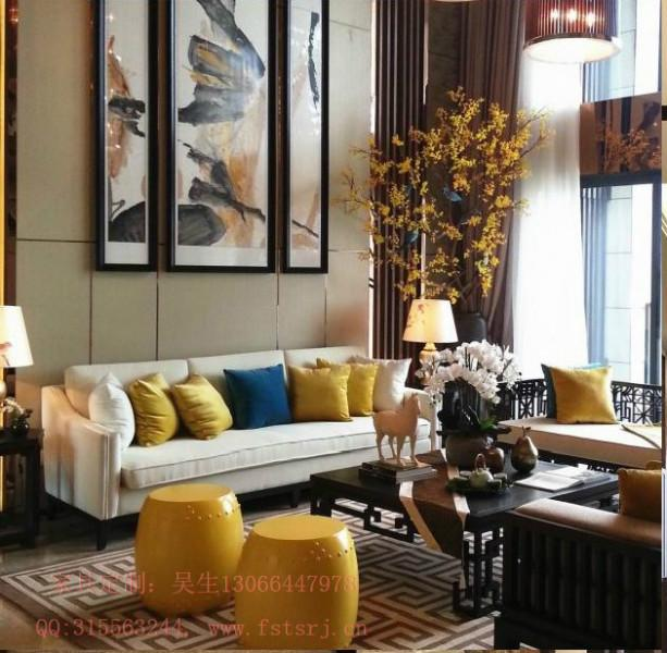 供应新中式酒店大堂沙发餐包家具图片