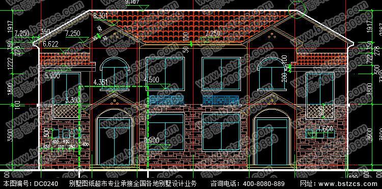 双拼地中海砖混意思图片DC0240二层 电气地中中图纸VT别墅二层的图片