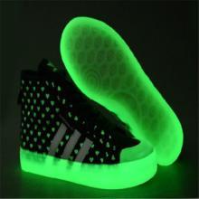供应五星行荧光发光鞋发光鞋多少钱发光高帮鞋