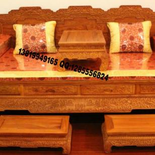 红木家具厂罗汉床图片