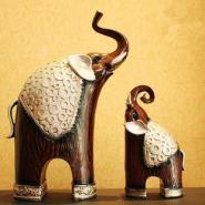 泰国仿古母子象摆件树脂工艺图片