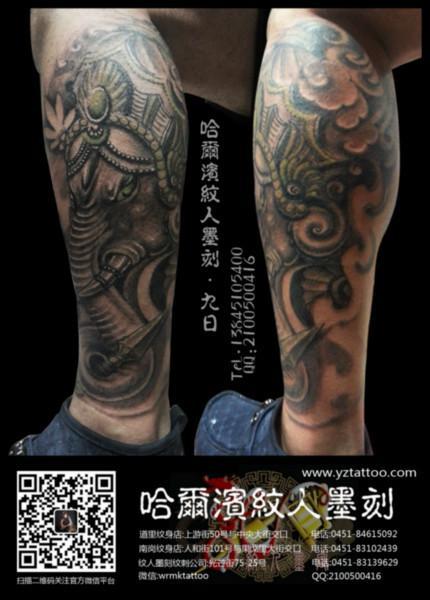 供应哈尔滨纹身小腿象神纹身传统纹身图片