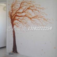 供应天津田园树电视背景墙手绘图片