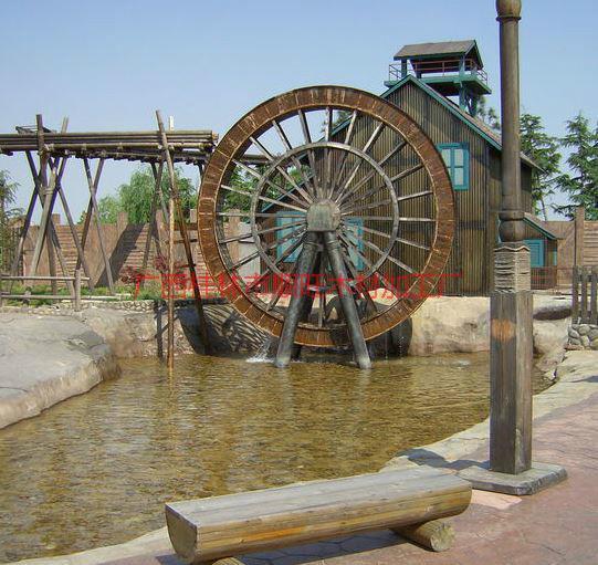 供应水车厂家,防腐木景观水车,广西订做小区景观水车