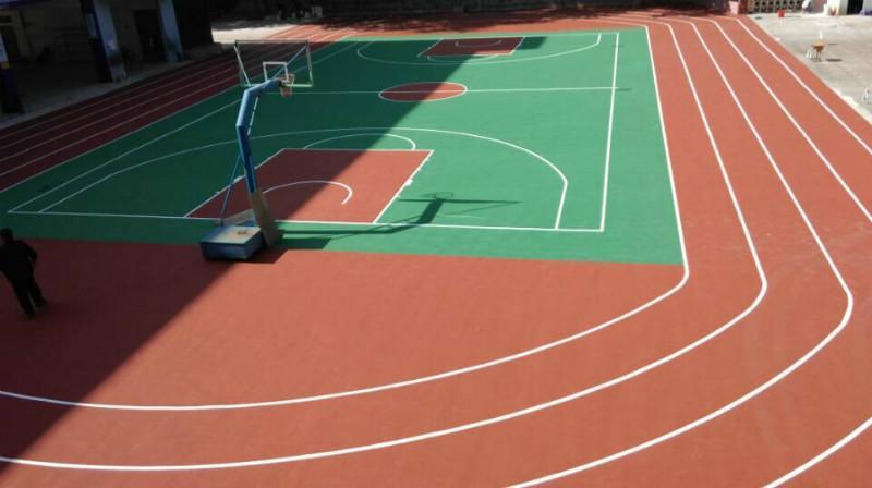 供应广州露天篮羽球场地、室外标准篮球场费用、看台彩色油漆厂家直销
