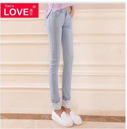 桃苡秋装新款韩版修身显瘦牛仔裤销售
