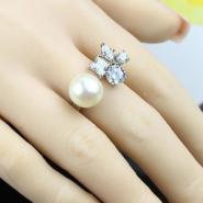 珍珠戒指925纯银开口U形戒指批发图片