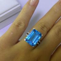 供应天然瑞士蓝托帕石裸石八角长方戒指