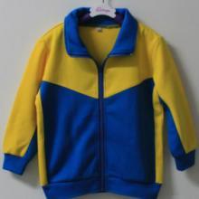 供应黄色配蓝色幼儿园秋冬长袖园服套装批发