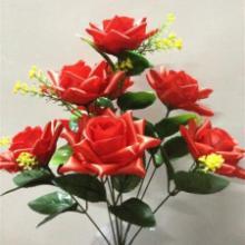 供应仿真高档玫瑰清明花七头红玫瑰清明仿真花批发