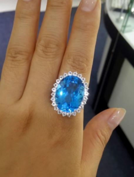 供应戴妃款托帕石戒指天然瑞士蓝托帕石 定制托帕石戒指 吊坠