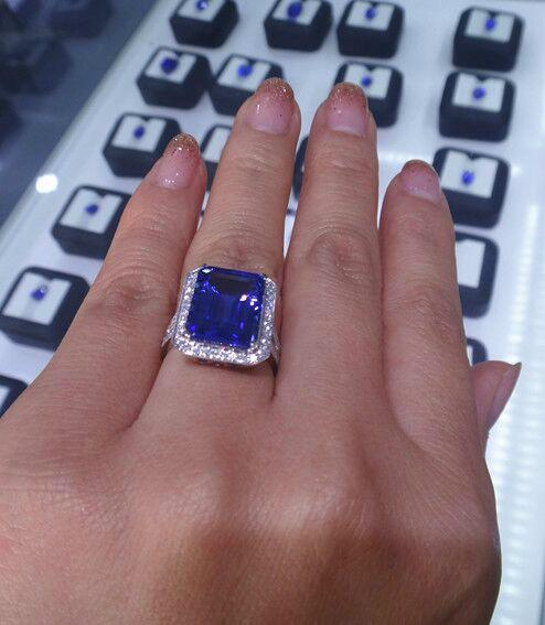 供应18K金镶钻八角长方坦桑石戒指宝石戒指 深圳坦桑石供应商