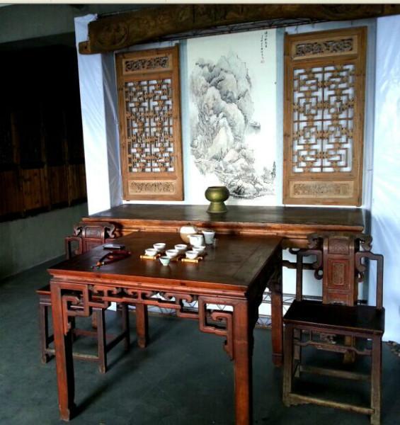 实木中式茶道古家具茶馆茶楼老桌椅图片大全