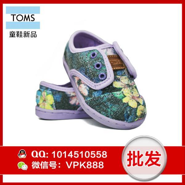 供应toms婴儿鞋 正品丁香花魔术扣儿童布鞋尺码T5--T11