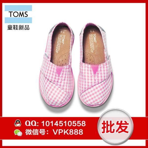 供应toms女童鞋 正品粉色泡泡纱小童帆布鞋尺码T6--T11