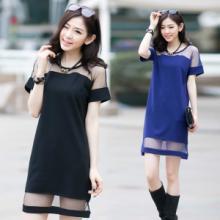 供应2015夏季新款女装欧美性感网纱拼接雪纺短袖包臀打底连衣裙