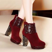 供应moolecole/莫蕾蔻蕾休闲时尚拼接超高跟马丁靴当季流行圆头短靴图片