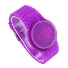 供应哪里有最新款LED电子手表出售创意7彩时间手表浪漫紫色批发