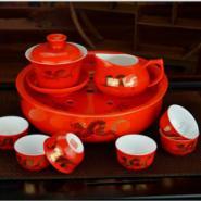 正品醴陵高档红瓷茶具套装礼品直销图片