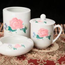 供应醴陵瓷器釉下彩茶水杯办公三件套御瓷坊生产厂家直销优惠促销中批发