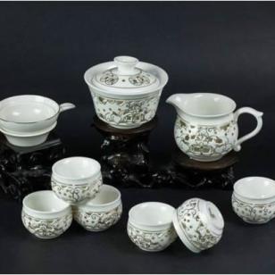 10头镂空杯茶具手工描金图片
