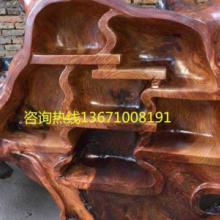 供应红木树根博古架原木茶桌博古架北京根雕摆件根雕茶桌价格批发