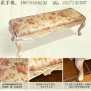海盟供应床尾凳实木布艺绣花换鞋凳图片