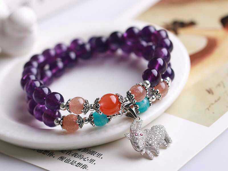 供应萬福源水晶饰品天然紫水晶多层手链