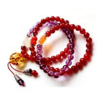供应萬福源水晶红玛瑙紫水晶多层手链