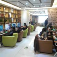 郑州欧式皮布艺单人沙发网吧网咖图片