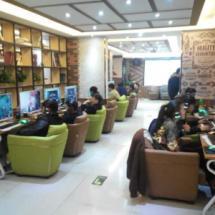 供应郑州欧式皮布艺单人沙发网吧网咖电脑沙发家用酒店酒吧会客休闲沙发椅