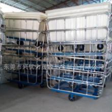 供应用于染整设备厂的滚塑方桶装布车,布料染色周转车,防腐蚀PE内胆推布车图片