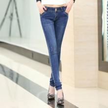 供应哪里有最新款女式牛仔裤批发零售修身提臀牛仔裤水洗小脚裤女铅笔裤